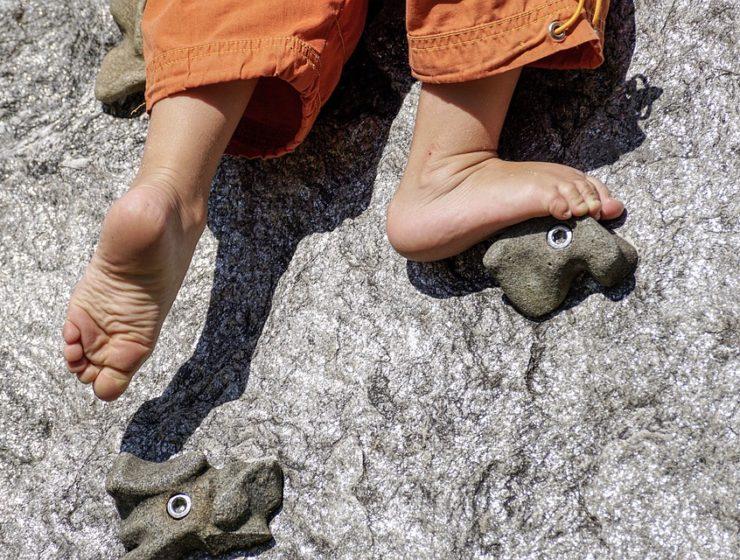 Child Barefoot Fun Playground Play Climb